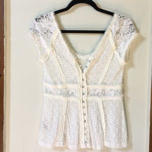 White lace free people top